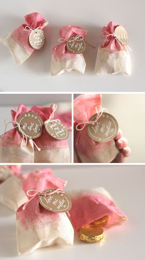 Dip-Dyed Treat Bags - 36 Romantic Valentine DIY and Crafts Ideas