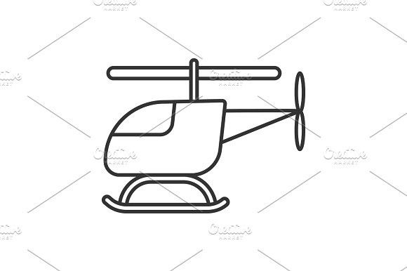 Toy Helicopter Linear Icon Helicopter Toy Baby Icon Line Illustration