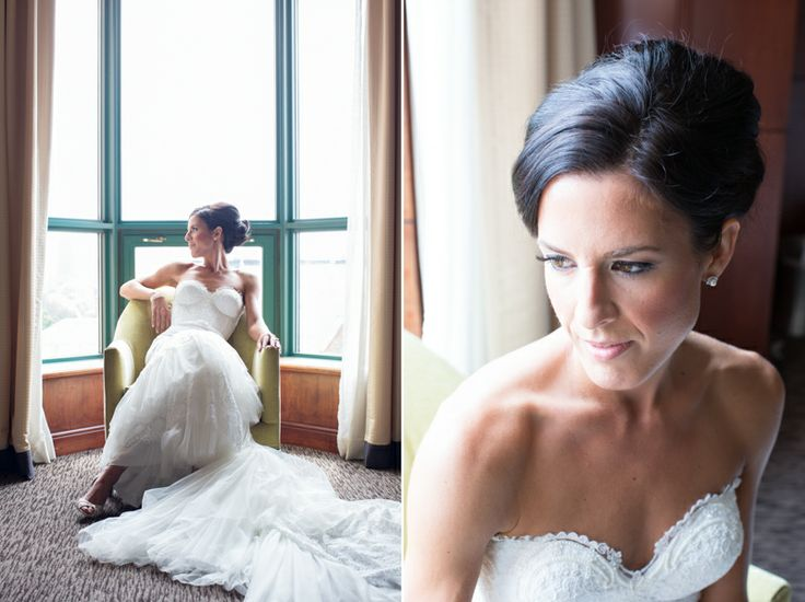 Intercontinential Hotel Yorkville bridal suite, bride wearing Inbal Dror gown