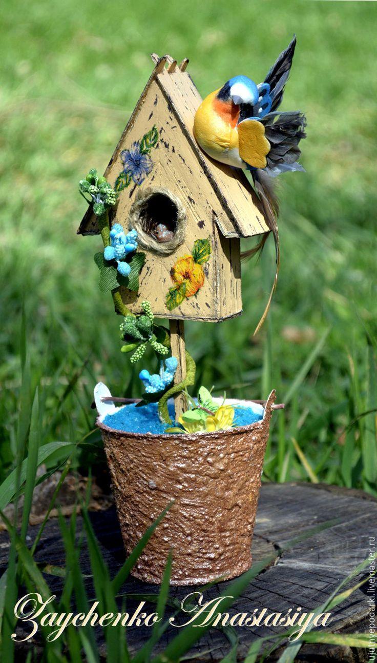 """Купить Топиарий """" Трели в апреле """" - бежевый, бирюзовый, скворечник деревянный, скворечник"""
