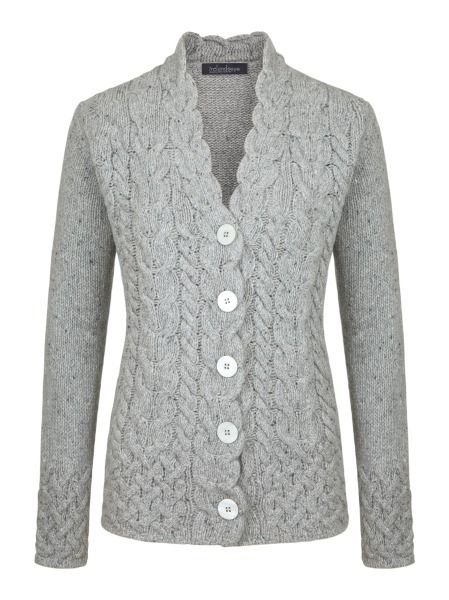 Ladies wool cashmere 'Horseshoe Cable Cardigan' - Light Grey, by Irelands Eye Knitwear Autumn Winter 2014/15.