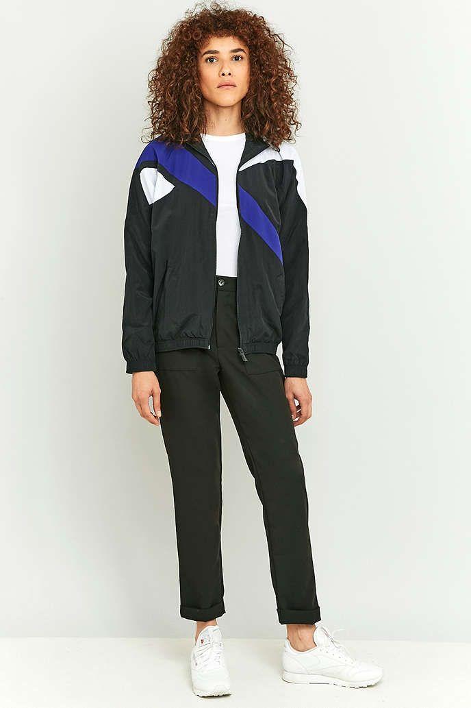 Reebok Retro Colour Block Black Zip Jacket - Urban Outfitters