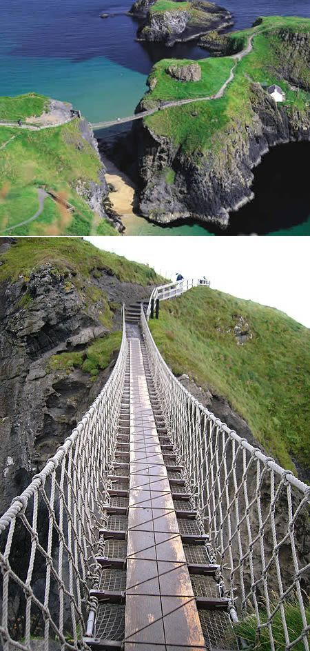 Carrick-a-Rede Rope Bridge is a rope suspension bridge near Ballintoy, County Antrim, Northern Ireland. The bridge links the mainland to the tiny Carrick Island. The site is owned and maintained by the National Trust,