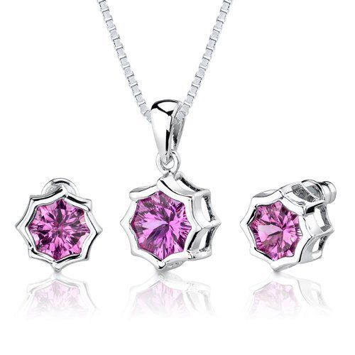 Exclusive Splendor: 8.75 carat Concave-Cut Snowflake Shape Pink Sapphire Pendant Earring Set in Sterling Silver Rhodium Finish . $74.99