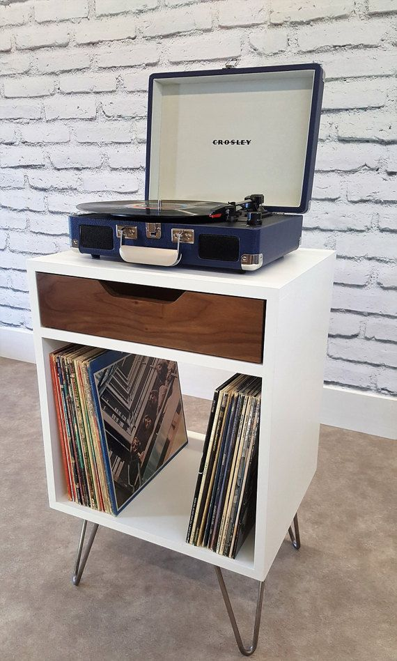 Small Record Console, Modern End Table, Bedside Table, White Nightstand, Mid Century Modern, Hairpin Leg, With Drawer