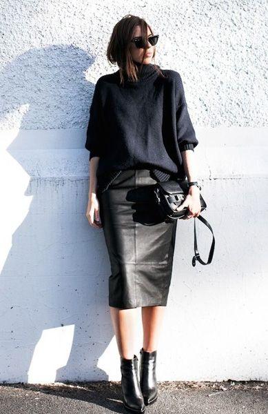 good look , leather skirt