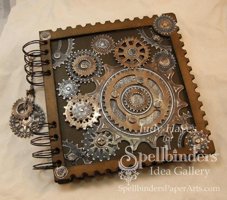 Cool gears on a notebook.: Spellbinders 2010, Guestbook Ideas, Steampunk Notebooks, Minis Album, Sprocket Journals, Steampunk Journals, Create Mi Style, Steampunk Inspiration, Crafts Inspiration