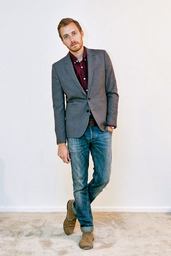 Middle Aged Men S Fashion Green Blazer And Jeans