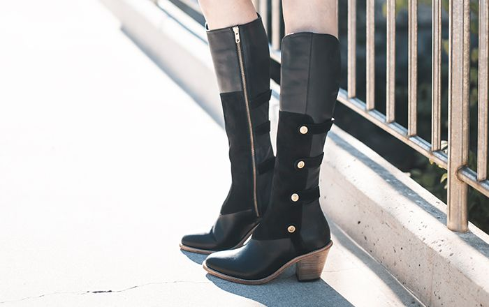 "Black Leather 2.5"" Military Boot 