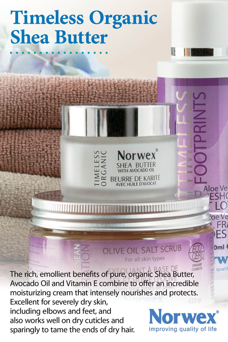 Norwex Timeless Organic Shea Butter - Eco-cert Certified Organic The rich emollient benefits of pure shea butter, avocado oil and Vitamin E combine to offer an incredible moisturizing cream for severely dry skin. Can also be used on dry cuticles and sparingly to tame the ends of dry hair. www.norwex.biz