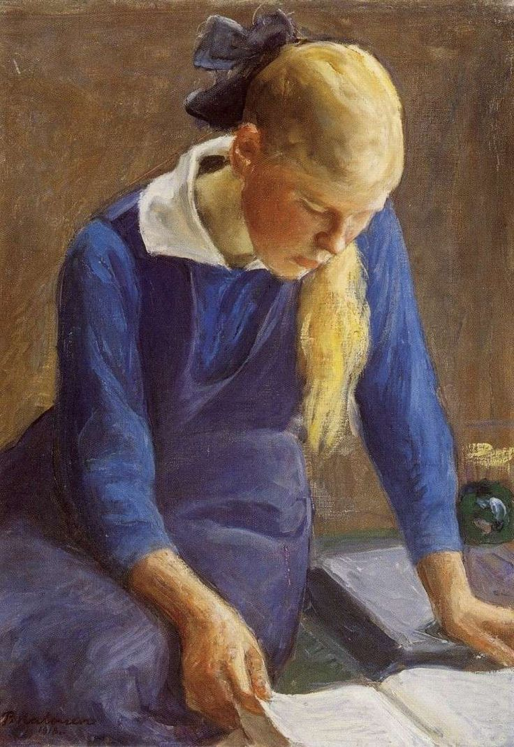 Girl Reading (1918). Pekka Halonen (Finnish, 1865-1933). For Halonen the views near Halosenniemi became an inexhaustible source of inspiration for his art. Many of his paintings depict simple scenes from his everyday surroundings. In Tuusula Halonen had a wide circle of artist friends and relatives which provided him with a daily source of social and cultural stimulation.