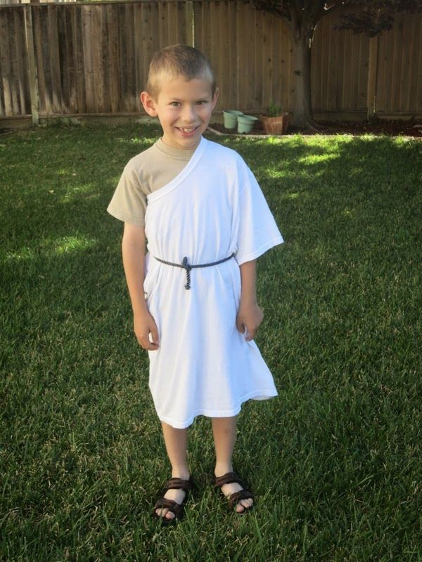 Toga Day Adult size white T-shirt as kid's toga.