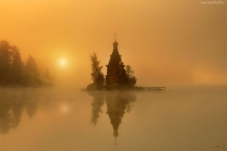 Cerkiew, Wyspa, Jezioro, Mgła, Drzewa