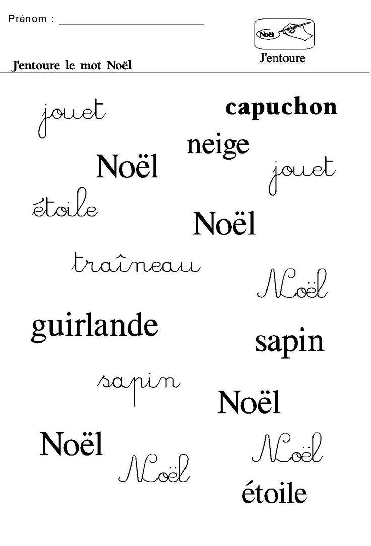 Noel en maternelle entourer le mot noel dans les 3 critures no l pinterest no l - Activite de noel maternelle ...