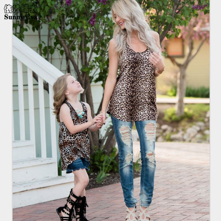 Sunny eva Leopard print family Tshirt Matching mother and daughter clothes family set family look Mother and daughter clothes  #Affiliate