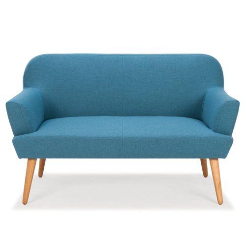 Canapé en feutrine L146 pied chêne Solveig Arne Lykke -Bleu cyan