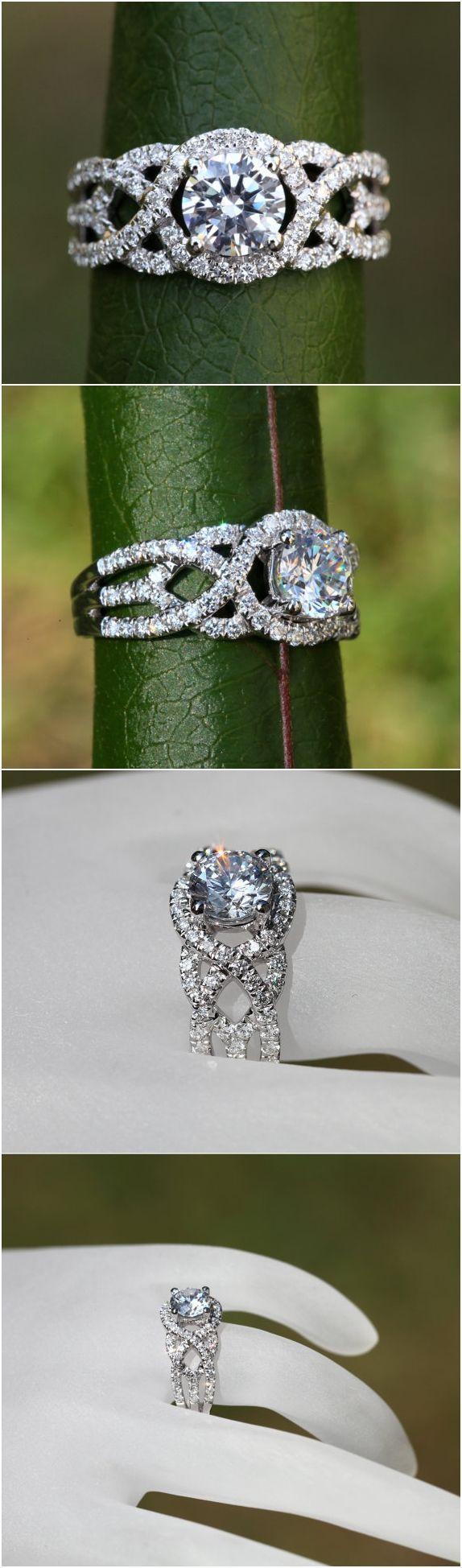 TWIST OF FATE - BeautifulPetra.com - .50 carat center Diamond Engagement Ring - 14k White gold - Halo - Unique - Swirl - Pave - Bp024 #haloring