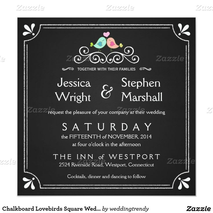 Chalkboard Lovebirds Square Wedding Invitations