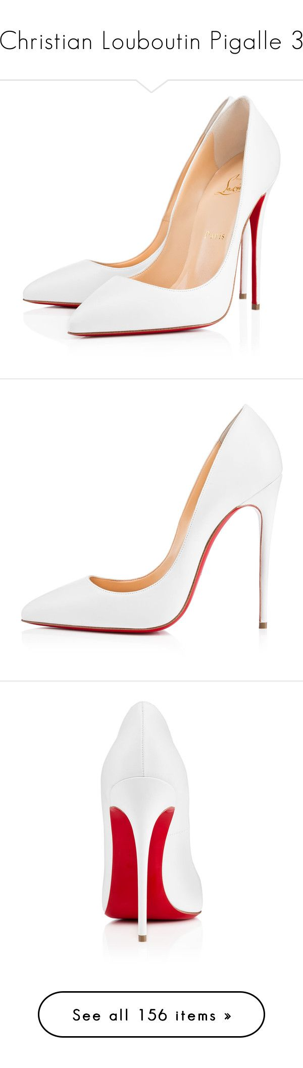 """Christian Louboutin Pigalle 3"" by enchantedxox ❤ liked on Polyvore featuring shoes, pumps, heels, louboutin, christian louboutin, white, high heel pumps, white heel pumps, christian louboutin pumps and leather pumps"