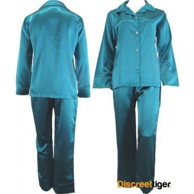 Stunning turquoise green satin pyjamas pajamas pj's.  Soft and luxurious, you won't want to take these off.