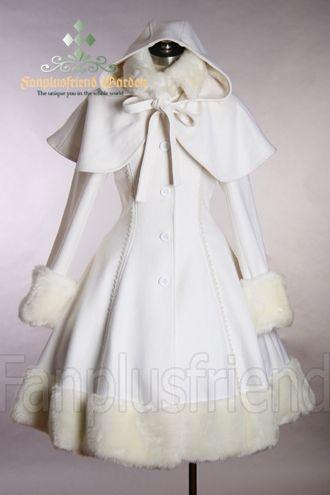 Classic Gothic Lolita: Heavy Wool & Fur Coat with Hood Cape