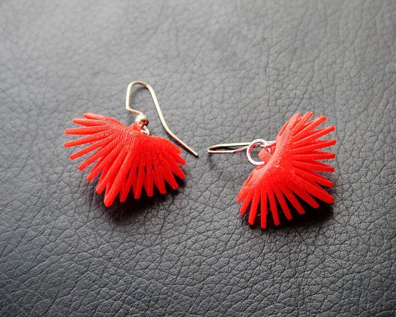 3D Printed Heart Earrings by TheCoconutRobot on Etsy