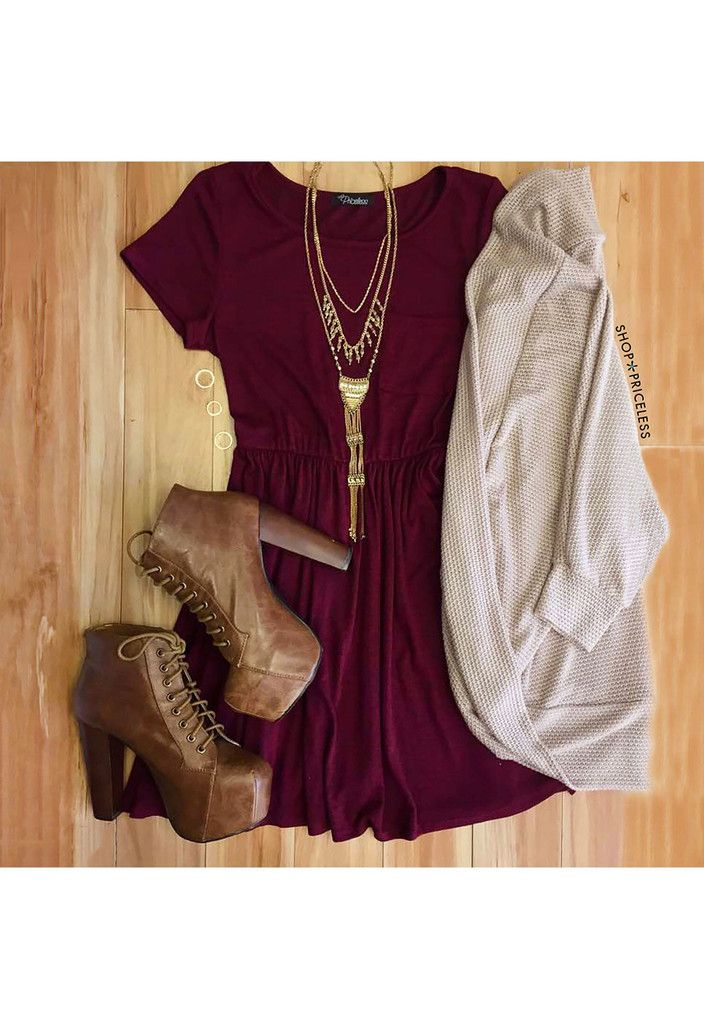 - Details - Size Guide - Model Stats - Contact The search is over for the perfect casual dress! Our Shop Priceless Reese Dress in burgundy features a stretch-knit fabric with a T-shirt styling. Scoop