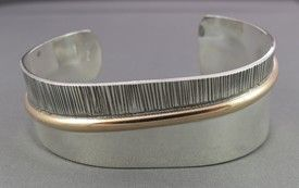 two tone sterling and 14kt gold filled wide cuff bracelet