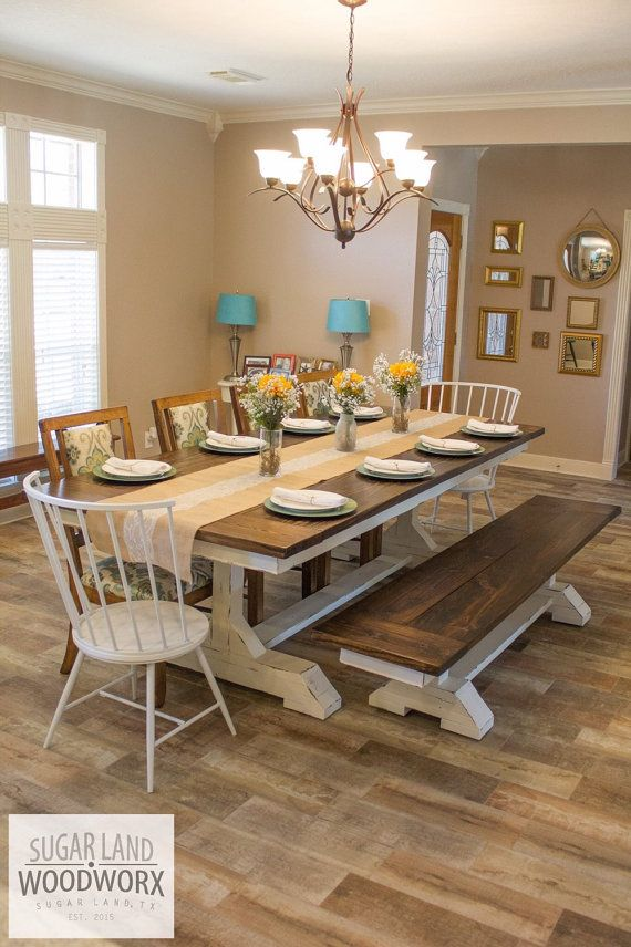 Solid wood, trestle style farmhouse dining table with matching bench. This particular table is an impressive 9 long and 45 wide. This is a