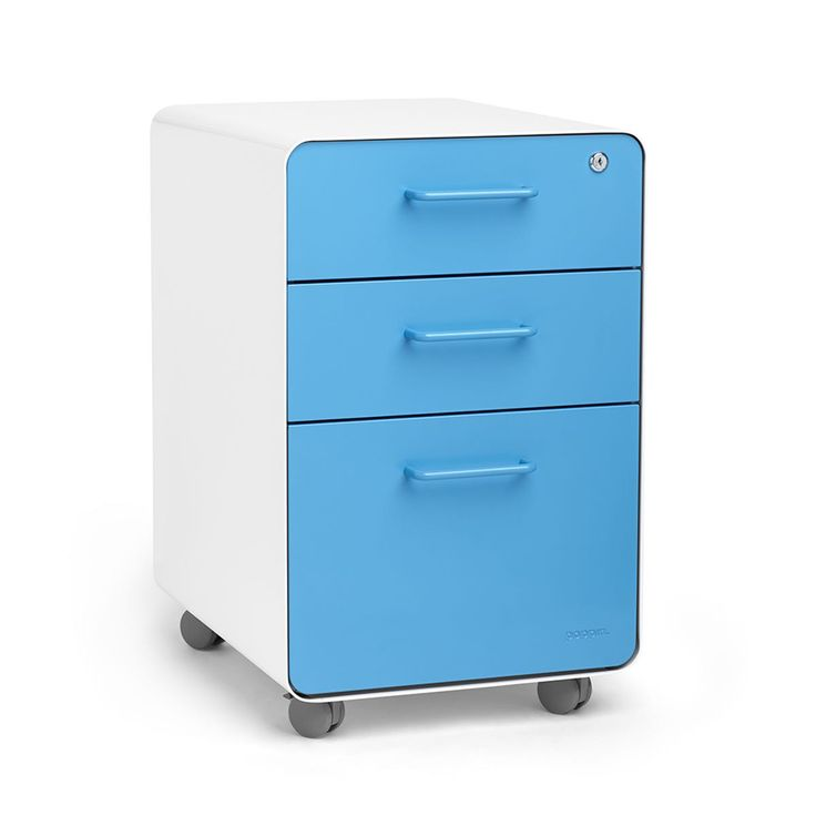 White + Pool Blue Stow 3-Drawer File Cabinet, Rolling,Pool Blue