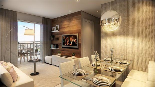 Sala de jantar sofa canto L e estar parede madeira TV