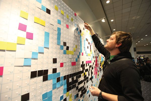 Painting with Pixels by Jude Buffum, via Behance || Best use of Post-It notes ever