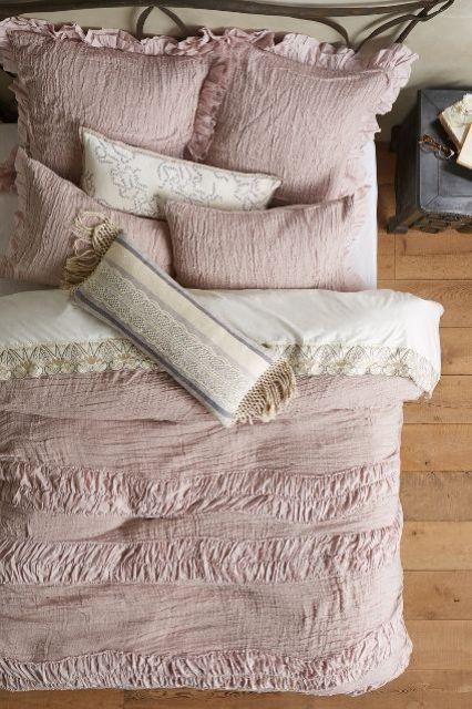 textured dusty pink bedding