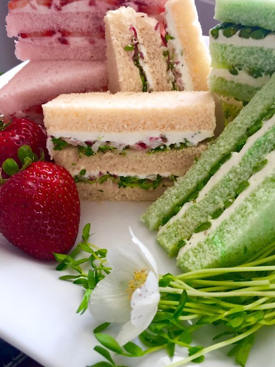 High Society Tea. sc- When I was younger, you could order loaves of bread tinted in different colors from our bakery. Then the tea sandwiches we created looked extra special!