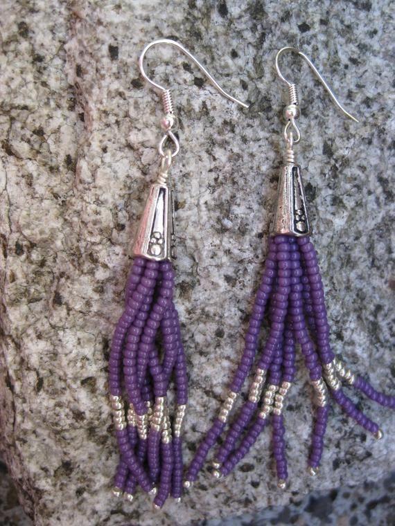 Purple Tassel Earrings Boho Earrings Seed Bead Earrings Etsy