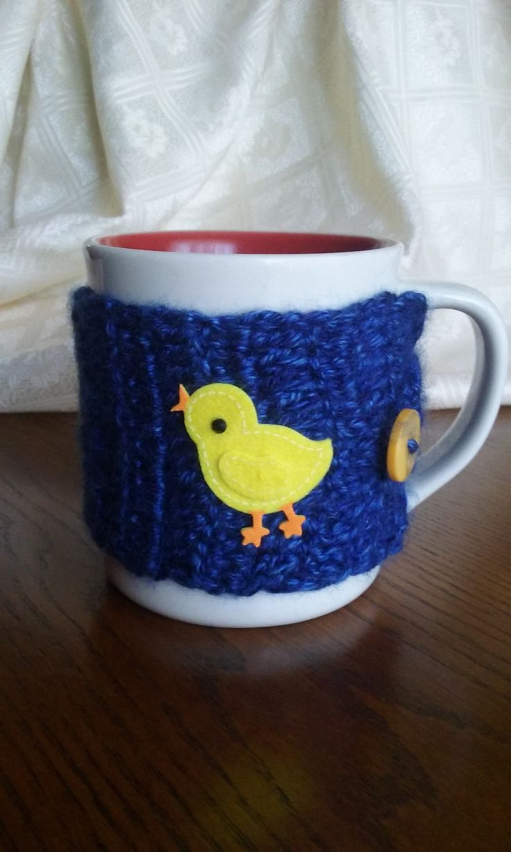 Navy Cup Sleeve, Cup Cozy,  Navy Cup Cozy, Mug Cozy by JsCreations05 on Etsy