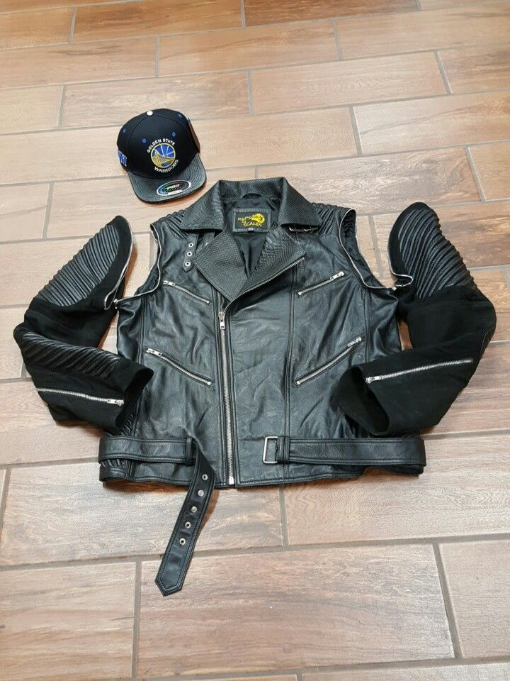 Reps&scales removable sleeves moto with snakeskin lambskin an suade