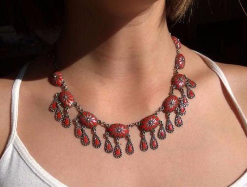 Old-Vintage-Sterling-Silver-Necklace-Enamel
