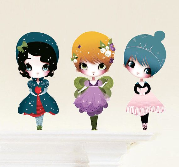 Dress Up Dolls (3 Small) Fabric (not vinyl) Wall Stickers by Adolie Day via Etsy