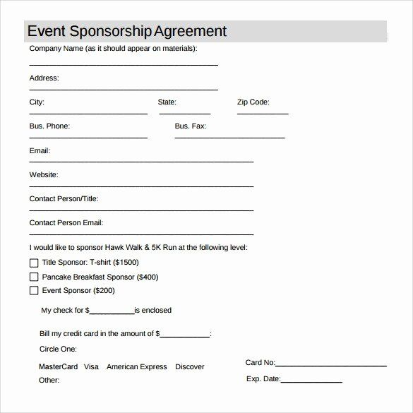 Simple Sponsorship Agreement Template In 2020 Word Template