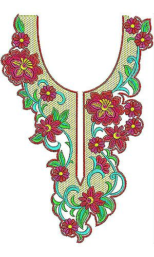Vintage Floral Neck Yoke Gala Embroidery Design