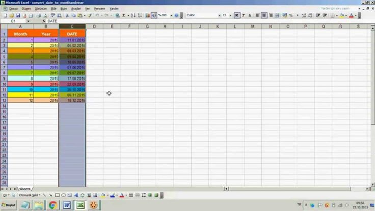 excel how to turn date into month