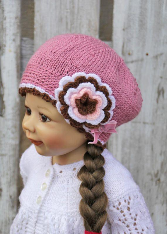 Knitted Children's hat cap brown dark pink white color flower soft lovely warm cozy Children 4-6 years