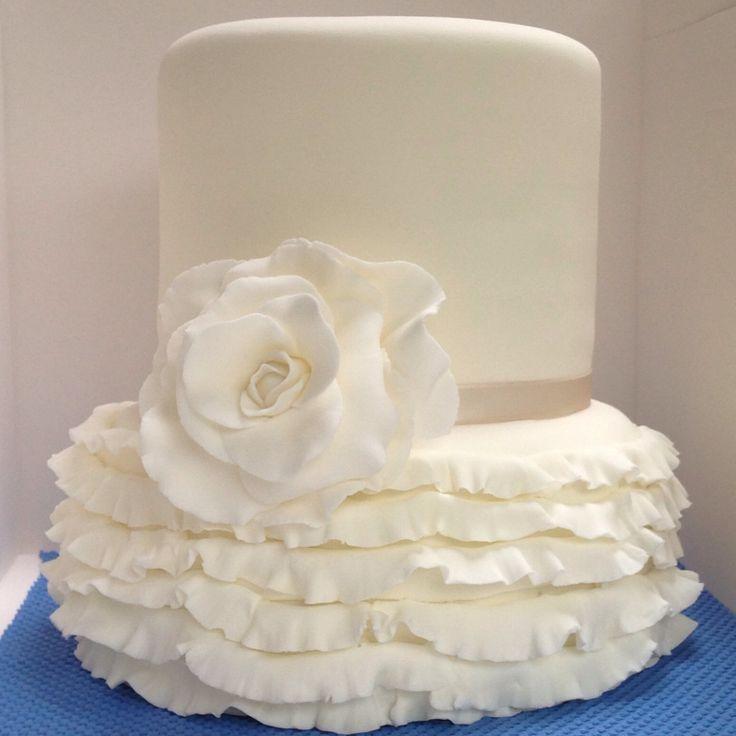 Ivory ruffles wedding cake by Frenchs-fancies