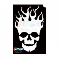 Glimmer Body Art Glitter Tattoos - Flaming Skull (10/pack)