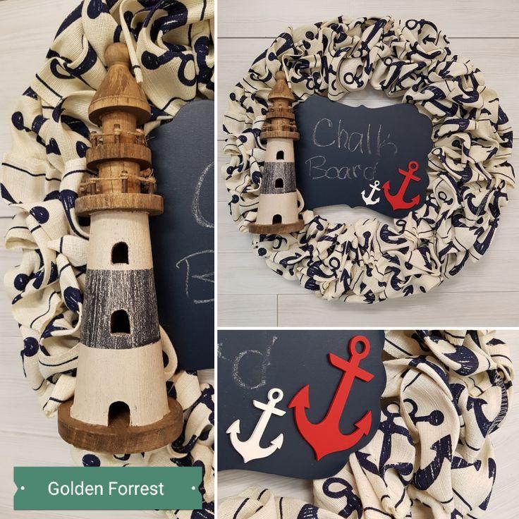 Nautical Wreath  #goldenforrest #goldenforrestcreations #wreath #doordecor #lighthouse #anchor #nautical #nauticaldecor #chalkboard #navy #cotton