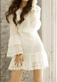 Wit kanten zomerjurk strandjurkje hippie jurk alternatieve mini trouwjurk  Kiki