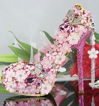 Womens hot pink fuchsia high-heeled rhinestone flower bridal shoes online shopping 5.5 inches heels