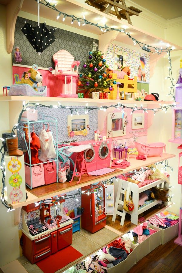 "Incredible American Girl-sized ""dollhouse"" shelving"