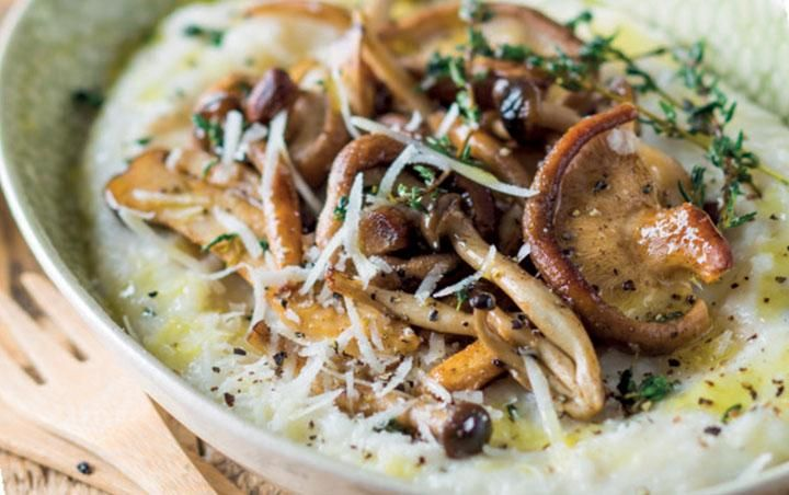 Parmesan maize with wild mushrooms